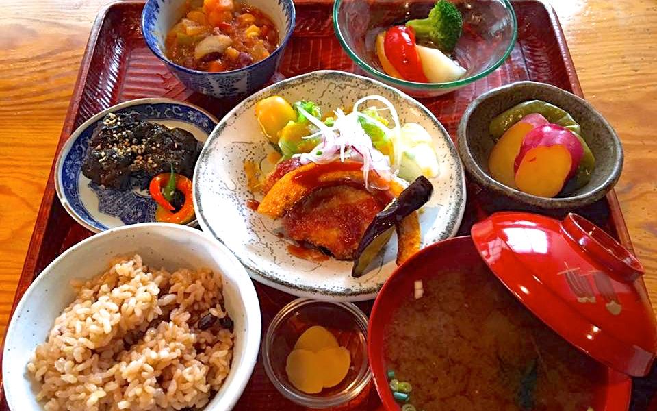 新幹線岡山駅からバスで5分、玄米と野菜のボリューム定食が嬉しい「野菜食堂こやま」