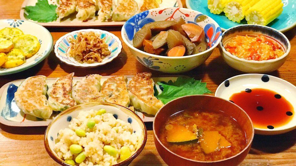 ある初夏の日のこんだて。ヴィーガン餃子定食の夜ごはん!
