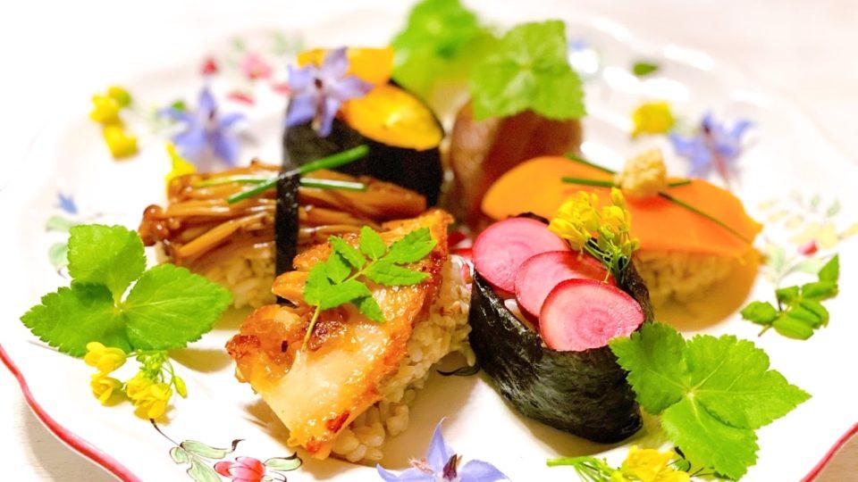 母の日だったので、春の野菜寿司6種を作りました。(ヴィーガン)