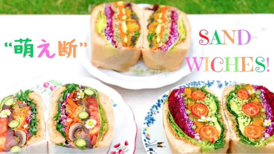 レインボーの層が美しい!野菜畑のような、VEGAN萌え断サンドイッチを作ってみた❤︎